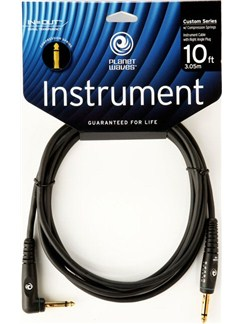 Planet Waves: 10' Custom Series Right Angle Instrument Cable With Compression Springs  | Electric Guitar, Electro-Acoustic Bass Guitar, Electro-Acoustic Guitar, Electro-Classical Guitar, Semi-Acoustic Guitar