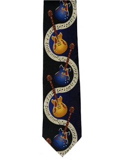 Polyester Tie: Guitars On Music  | Guitar