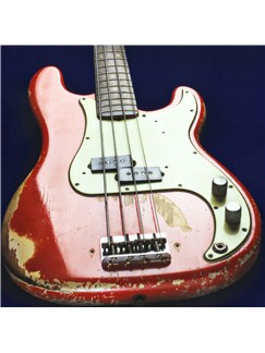 Bass Guitar Greeting Card - Worn Red  |