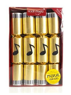 Christmas Crackers: Box Of 8 - Chimes (Gold Musical Note Design)  |