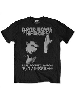 Bowie: Heroes Men's T-Shirt - Black (Medium)  |