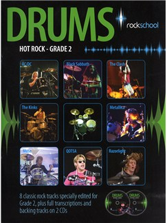 Rockschool Drums: Hot Rock Grade Two (Book and 2CDs) Books and CDs | Drums