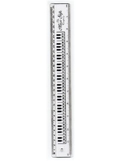 The Music Gifts Company: 12 Inch/30cm Ruler - Clear/Keyboard  |