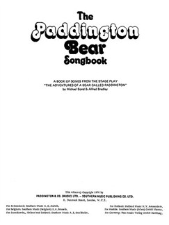 The Paddington Bear Songbook Libro | Piano, Voz y Guitarra(Diagramas)