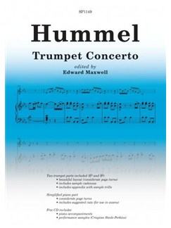 Johann Nepomuk Hummel: Trumpet Concerto (Ed. Edward Maxwell) Books and CDs | Trumpet, Piano Accompaniment