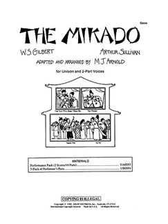 Gilbert And Sullivan: The Mikado (Arr M.J. Arnold) - Score Books | Unison And 2-Part Choir, Piano Accompaniment