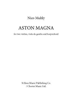 Nico Muhly: Aston Magna Books | Violin, Violin, Harpsichord, Viol