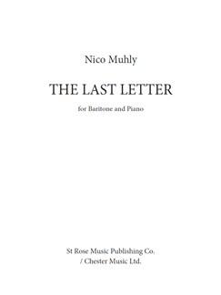 Nico Muhly: The Last Letter Books | Baritone Voice, Piano Accompaniment