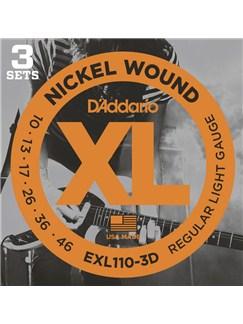 D'Addario: EXL110-3D Nickel Wound Electric Guitar Strings, Regular Light, 10-46, 3 Sets  | Electric Guitar