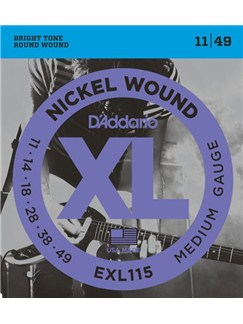 D'addario: EXL115-3D Blues-Jazz Rock Electric Guitar String Set 11-49 (3 Pack)  | Electric Guitar