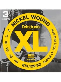 D'addario: EXL125-3D XL Super Light Top Electric Guitar String Sets (3 Sets)  | Electric Guitar