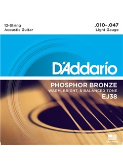 D'Addario: EJ38 12-String Phosphor Bronze Acoustic Guitar Strings, Light, 10-47  | Acoustic Guitar