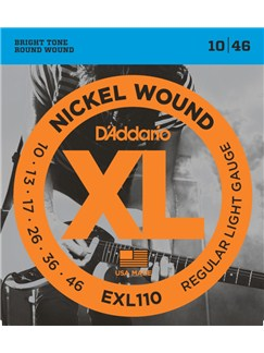 D'Addario: EXL110 Nickel Wound Electric Guitar Strings, Regular Light, 10-46  | Electric Guitar