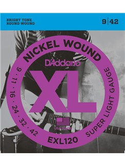 D'Addario: EXL120 Nickel Wound Electric Guitar Strings, Super Light, 9-42  | Electric Guitar