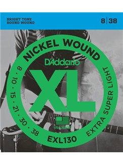 D'Addario: EXL130 Nickel Wound Electric Guitar Strings, Extra-Super Light, 8-38  | Electric Guitar