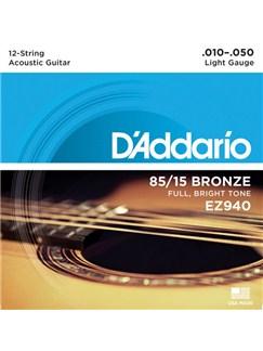D'Addario: EZ940 12-String Guitar Light Set 85/15 American Bronze  | Electric Guitar, Acoustic Guitar