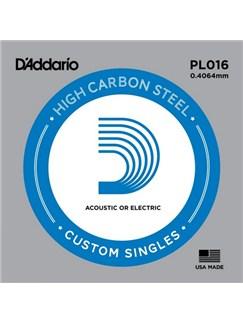 D'Addario: PL016 Plain Steel Guitar Single String, .016  | Guitar