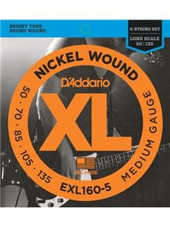 D'Addario: EXL160-5 Nickel Wound 5-String Bass, Medium, 50-135, Long Scale  | Bass Guitar