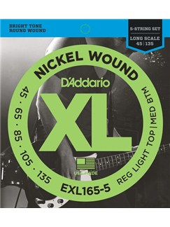 D'Addario: EXL165-5 Nickel Wound 5-String Bass, Custom Light, 45-135, Long Scale  | Bass Guitar