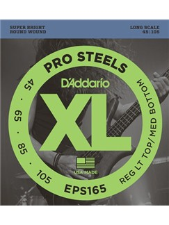D'Addario: EPS165 XL ProSteels Medium Round Wound Bass Guitar String Set  | Bass Guitar