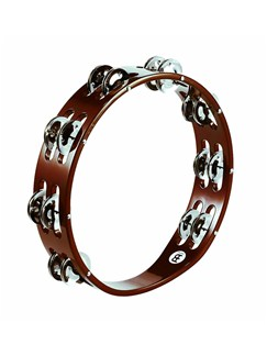 Meinl: Wood Tambourines Steel Jingles 2 Row Version - African Brown Instruments | Percussion