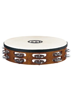 Meinl: Headed Wood Tambourines Steel Jingles 2 Row Version - African Brown Instruments | Percussion