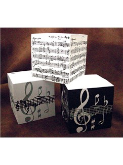 Music Gifts: Telephone Cube - Large (Grey Music Note)  |