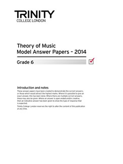 Trinity College London: Theory Model Answers 2014 - Grade 6 Books | All Instruments