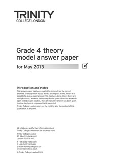 Trinity College London: Theory Model Answers 2013 - Grade 4 Books | All Instruments