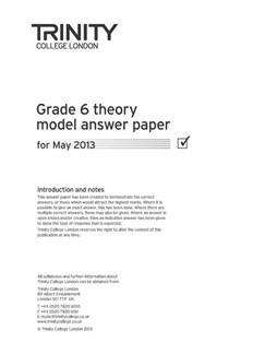 Trinity College London: Theory Model Answers 2013 - Grade 6 Books | All Instruments