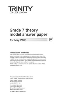 Trinity College London: Theory Model Answers 2013 - Grade 7 Books | All Instruments