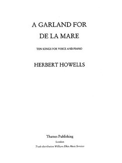Herbert Howells: Garland For De La Mare (Medium) Libro | Voz, Piano