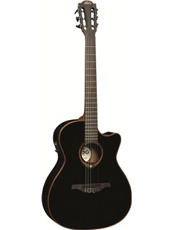 LAG: Tramontane TN100A14CEBLK - Auditorium Cutaway Nylon String Electro Acoustic Guitar Instruments | Electro-Classical Guitar