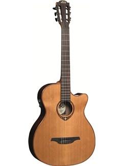LAG: Tramontane TN100ACE Auditorium Cutaway Nylon String Electro-Acoustic Guitar Instruments | Electro-Classical Guitar