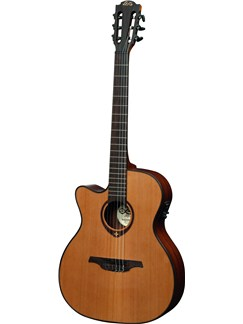 LAG: Tramontane TN200A14CE - Auditorium Cutaway Nylon String Electro Acoustic Guitar Instruments | Electro-Classical Guitar