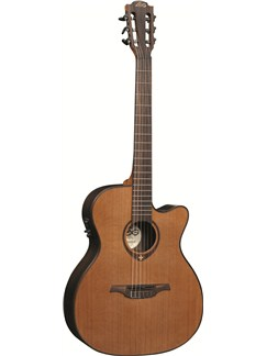 LAG: Tramontane TN300A14CE - Auditorium Cutaway Nylon String Electro Acoustic Guitar Instruments | Electro-Classical Guitar