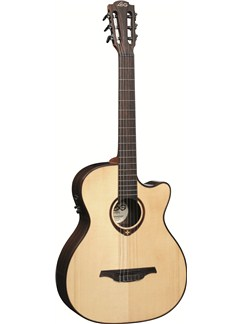 LAG: Tramontane TN400ACE - Auditorium Cutaway Nylon String Electro Acoustic Guitar Instruments | Electro-Classical Guitar