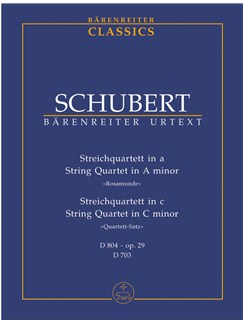 "F. Schubert: String Quartet A Minor D 804 Op. 29 ""Rosamunde""; String Quartet C Minor D 703 ""Quartett-Satz"" (Study Score) Books 