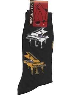 The Tie Studio: Grand Piano Socks - Black (Size 6-11)  |