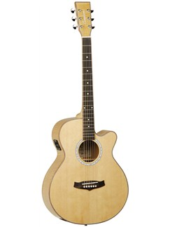 Tanglewood: TSF-CE-XFM Super Folk Bodied Cutaway Electro-Acoustic Guitar - Flamed Maple Natural Instruments | Electro-Acoustic Guitar