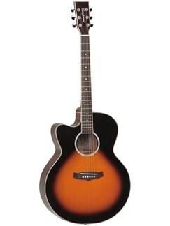 Tanglewood: Super Jumbo Left Handed Electro Acoustic Guitar (Vintage Sunburst) Instruments | Electro-Acoustic Guitar