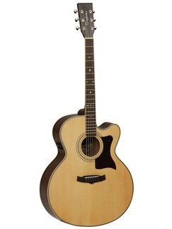 Tanglewood: TW155-AS Super Jumbo Bodied Cutaway Electro-Acoustic Guitar - Natural Satin (Solid Back) Instruments | Electro-Acoustic Guitar