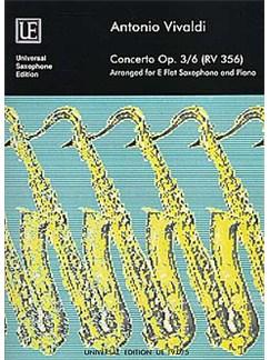 Antonio Vivaldi: Concerto Op.3/6 RV 356 (Alto Saxophone/Piano) Books | Alto Saxophone, Piano Accompaniment
