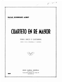 Rafael Rodriguez Albert: Cuarteto En Re Mayor (Arco Y Guitarra) Books | Violin, Viola, Cello, Guitar