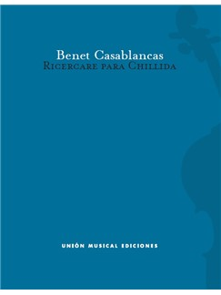 Benet Casablancas: Ricercare Para Chillida - Cello Score Buch | Cello