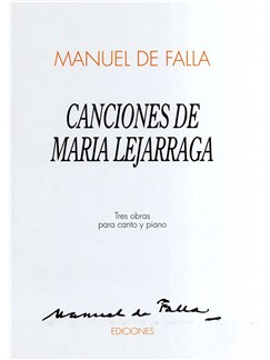 Manuel De Falla: Canciones De Maria Lejarraga Books | Voice and Piano