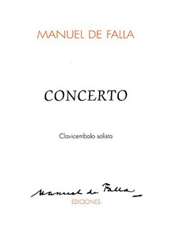 De Falla: Concerto For Harpsichord And 5 Instruments  Solo Part Books | Harpsichord
