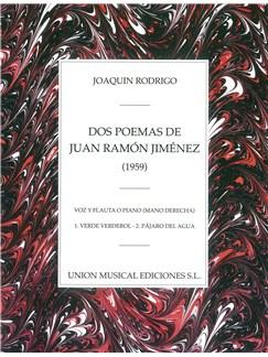 Rodrigo: Dos Poemas De Juan Ramon Jimenez Voz Y Flauta O Piano Libro | Voz, Flauta, Acompañamiento de Piano