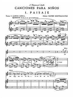 Xavier Montsalvatge: Canciones Para Ninos Libro | Voz, Acompañamiento de Piano