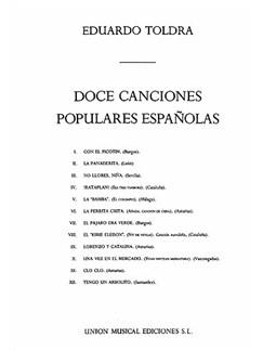 Eduardo Toldra: Doce Canciones Populares Espanolas Books | Voice, Piano